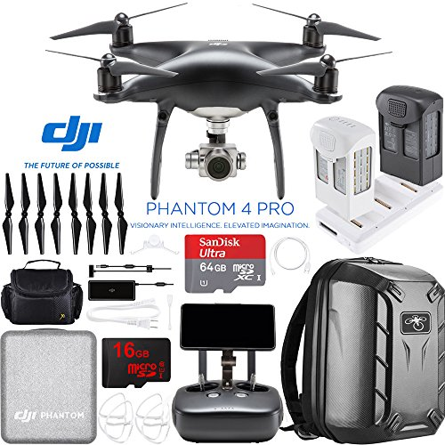 DJI Phantom 4 Pro+ Quadcopter Drone (Obsidian) with Deluxe Remote Control Plus Extra Battery + Charging Hub and Custom Backpack 64GB Memory Bundle (CP.PT.00000023.01) by Beach Camera