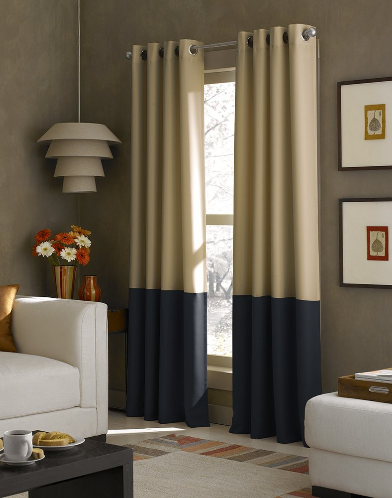 Curtainworks Kendall Color Block Grommet Curtain Panel, 84 inch, Khaki/Navy - Lined grommet panel in color blocked gabardine fabric 100% Polyester.Panel has two solid colors 1.5-inch silver metal grommets.Black: Black/Tan - living-room-soft-furnishings, living-room, draperies-curtains-shades - 61apSBjYRsL -