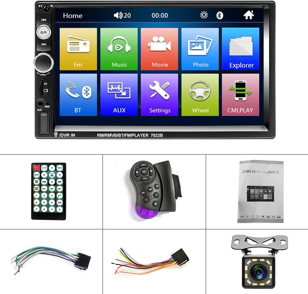 USB SD Aux Car Bluetooth Receiver Steering Wheel Remote Control Support FM 2Din Car Radio with Backup Camera Touch Screen In-Dash Car Stereo with Bluetooth YYKJ DVR Head Unit