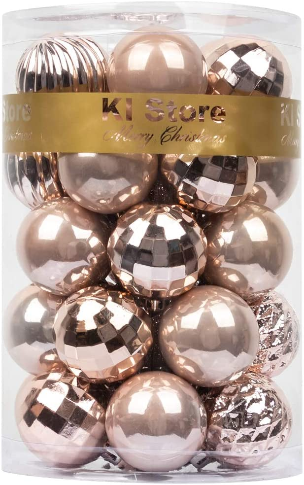 Ki Store Christmas Ball Ornaments Shatterproof Christmas Decorations Tree Balls Pastel For Holiday Wedding Party Decoration Tree Ornaments Hooks Included Blush Pink 40mm Amazon Ca Home Kitchen