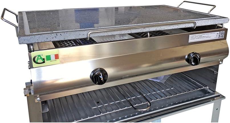 GA - Barbacoa de acero inoxidable con 2 fuegos y placa de piedra volcánica de cocción por infrarrojos