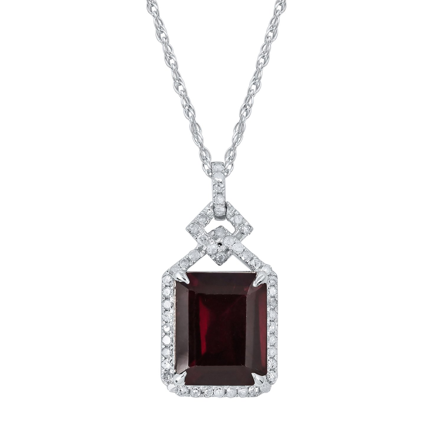 10k White Gold Emerald-cut Garnet and Diamond Halo Necklace