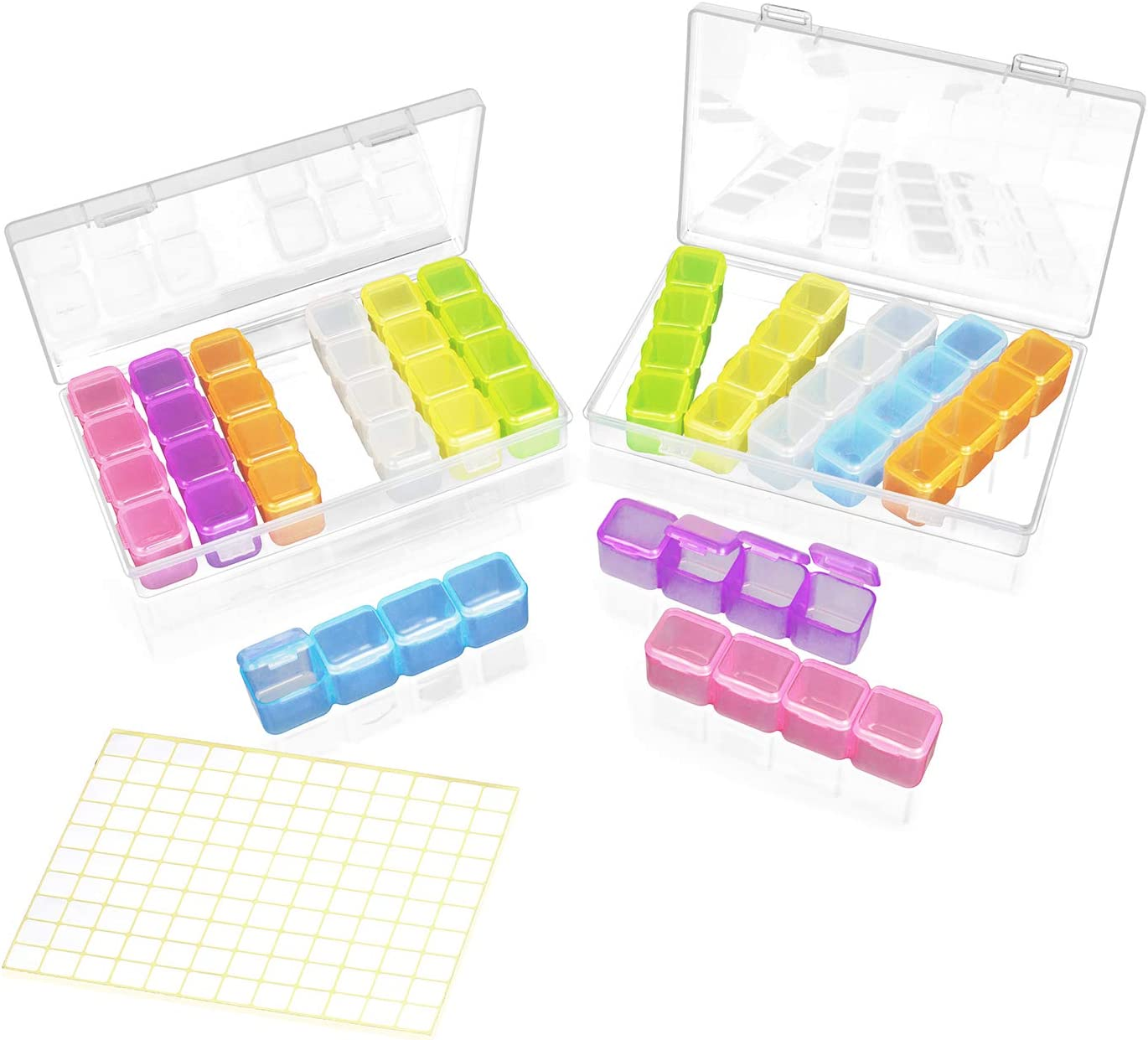 Total 14 Individual Removable Organizer Rows of 4 Conjoined Painting Gems Divider Bin 6.9x4.2x1 inch ADVcer 2 Pack 28 Grids Diamond Embroidery Bead Storage Containers Box with 120pcs Label Stickers