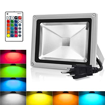 RGB LED Flood Lights, 10W Color Changing Outdoor Spotlight with Remote Control, IP65 Waterproof Wall Washer Light, 16 Colors 4 Modes Dimmable Stage Lighting with US 3-Plug