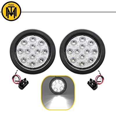 TMH 2pcs 4 Inch 12 Super Bright LED Tail Turn Signal Indicator Light Marker Reverse Lamp Assembly Rubber Mount Grommet for Trucks Trailer Boat RV: Automotive