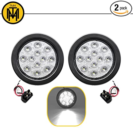 Tmh 2pcs 4 12 Super Bright Led Tail Turn Signal Indicator Light Marker Reverse Lamp Assembly Rubber Mount Grommet For Trucks Trailer Boat Rv