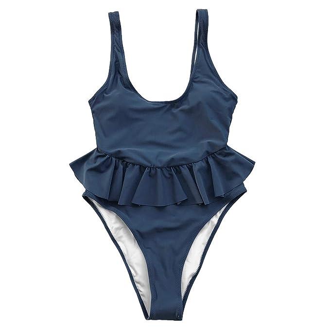 0c4479d80a4d Ocean Blue Peplum Backless Traje de baño de una Pieza Mujer U-Neck ...