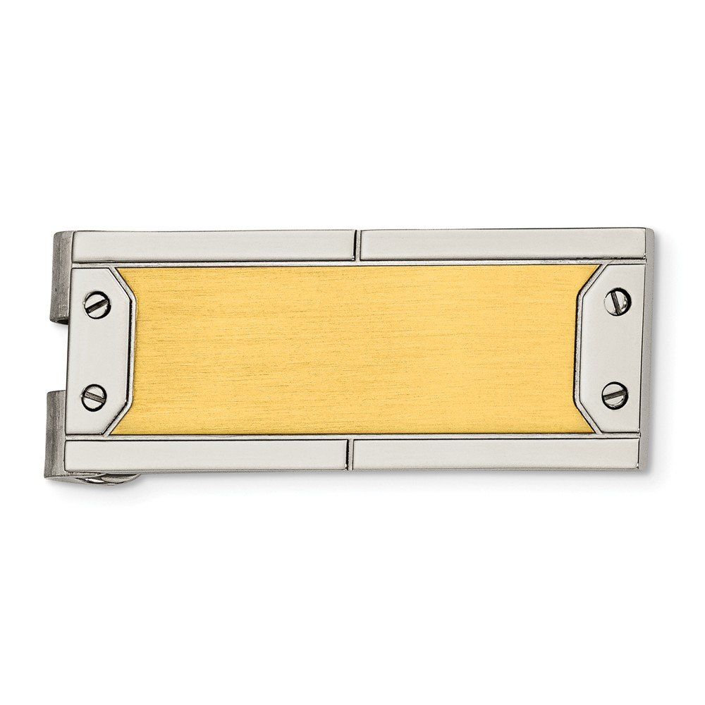 Stainless Steel Mens Accessory Money Clips 18 mm 40 mm Brushed Polished Yellow IP-Money Clip