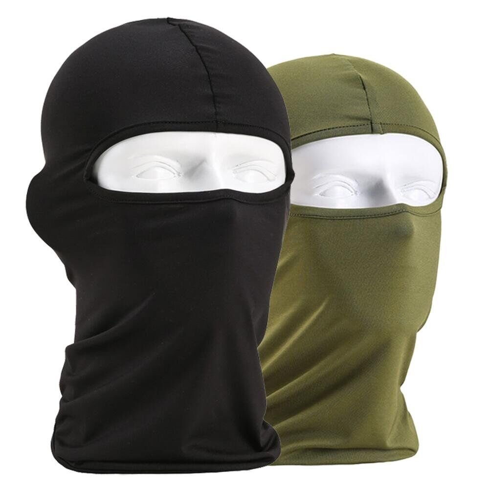 Heall 2pcs Balaclava Face Mask, Multi-Purpose Breathable Mask For Outdoor Skiing Cycling Motorcycling Hiking Camping - Men Women(Black/Green) B160216A3TZ3136