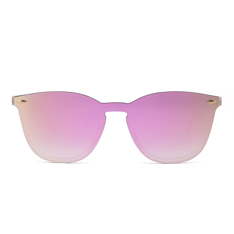 Rimless Sunglasses One Piece Mirror Reflective Eyeglasses for Men Women HFX0012-C2