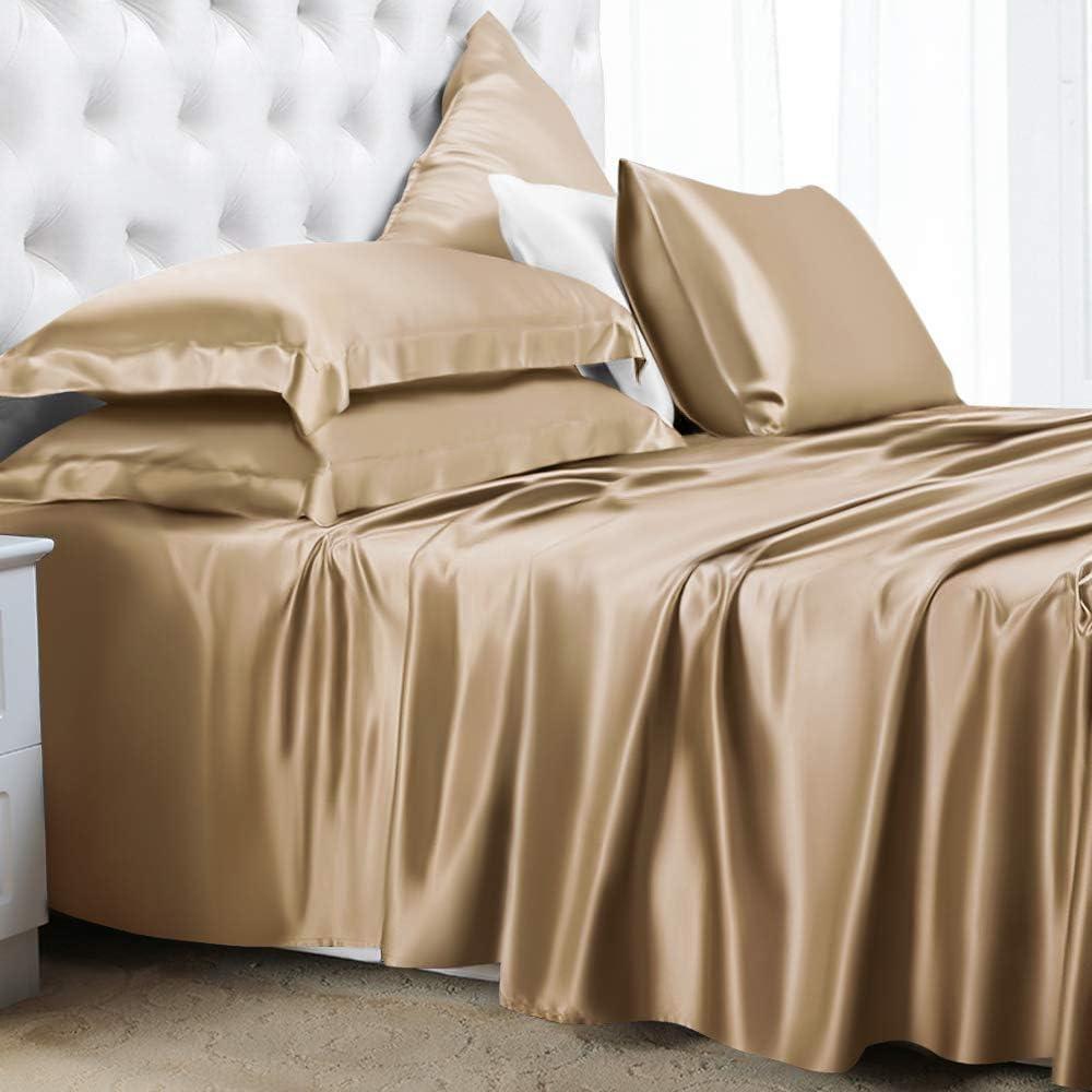 ElleSilk 100/% Soie Draps de Lit 180 x 260 cm Cappuccino Linge de Lit en 22 Momme Soie Luxueux et Confortable