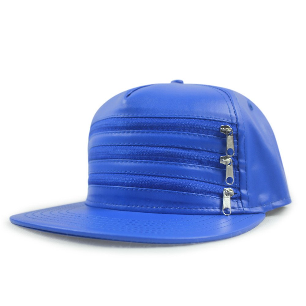 Women's leather baseball cap in spring and autumn three zipper flat black men and women dance along the neutral fashion hat hat,Adjustable for head circumference 56-60CM,Color blue