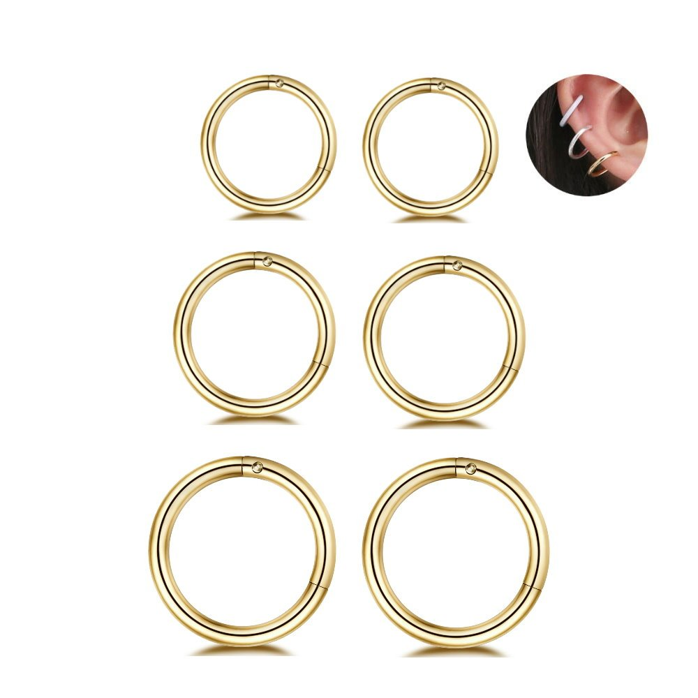 3Pairs Stainless Steel 16G Sleeper Earrings Septum Hinged Clicker Nose Lip Ring Helix Daith Cartilage Tragus Piercings Jewelry 6/8/10mm (gold)