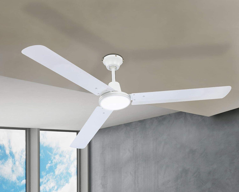 Deckenl/üfter, 3 Stufen, Durchmesser 142 cm, Rechts Lauf, Wei/ß Deckenventilator Leise Wandschalter Schaltbar Ventilator