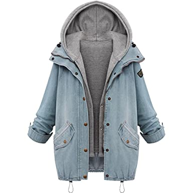 YunYoud Damen Große Größe Mantel Winter Warm Mit Kapuze Jacke Denim Trench  Parka Jacken Einfarbig Lange 98d7c3a379