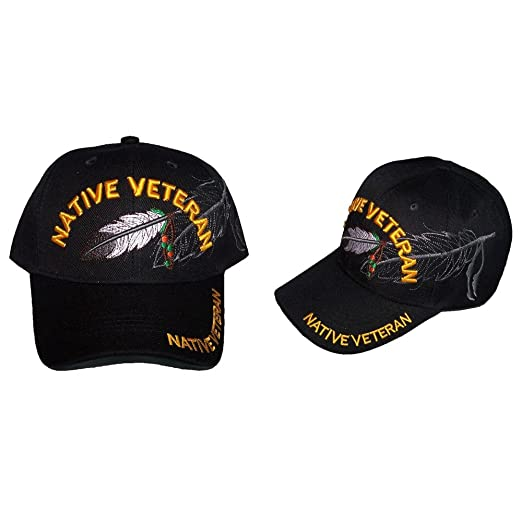 9ab50e3f215 Image Unavailable. Image not available for. Color  Native Veteran Military  Feather Baseball Caps Hats Embroidered ...
