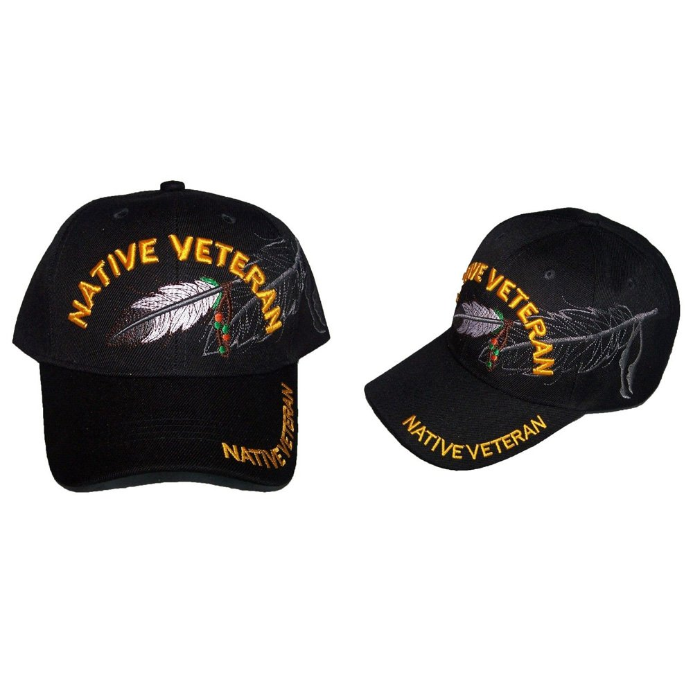 Native Veteran Military Feather Baseball Caps Hats Embroidered (ACapNp482)