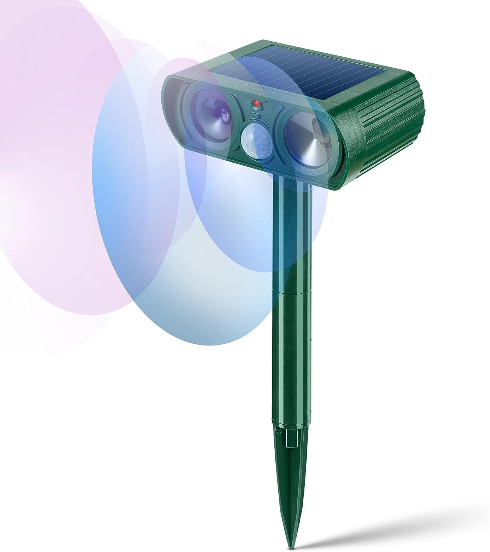 JIA LE Ultrasonic Animal Repeller, Solar Powered Outdoor Animal Repeller, Waterproof Motion Sensor Cat Repellent, Deterrent Chaser Protect Farm Garden Yard (DZ) (DZ)
