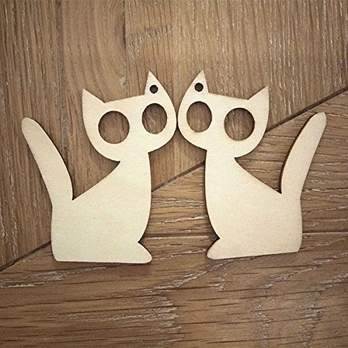 Tinksky 10pcs Gift Tags Wooden Gift Tags Kitten Cat Shape Craft Halloween Hanger Decoration with Strings