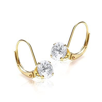 Carissima Gold Women's 9 ct Yellow Gold with White Cubic Zirconia Half Hoop Earrings T9oB54