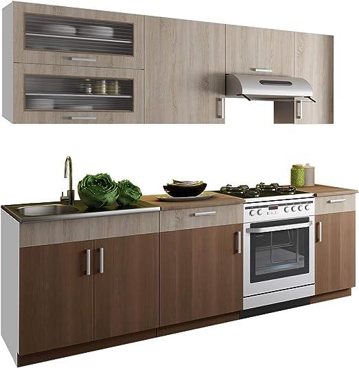 Mirjan24 Küche Puccini 240 cm mit Arbeitsplatte, Küchenblock ...