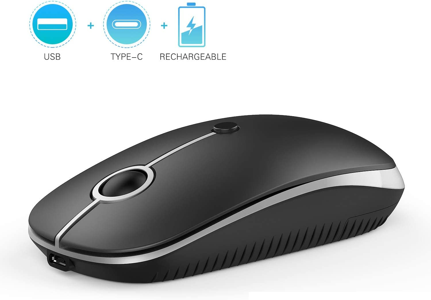 Type C Wireless Mouse, Jelly Comb Dual Mode 2.4Ghz Rechargeable Slim Wireless Mouse with Nano USB and Type C Receiver for PC Laptop, MacBook pro, MacBook air, iMac and More-MS05 (Black and Silver)