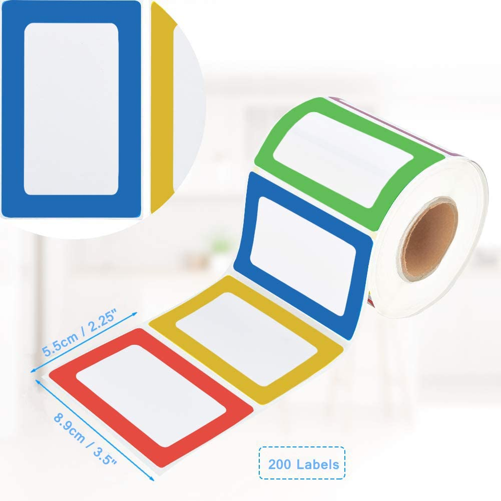 200 Stickers BESTEASY Colorful Name Tag Labels 3 1//2 X 2 1//4 Plain Name Tag Stickers for Office /& School