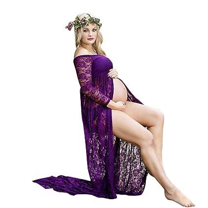 Mujeres embarazadas Sexy fotografía apoyos fuera de los hombros vestido de enfermería de encaje largo Vestido