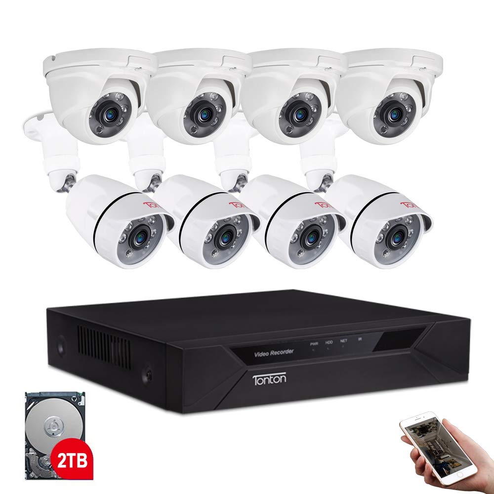 Tonton 8CH Full HD 1080P Home Security Camera System Outdoor, 5-in-1 Surveillance Video DVR with 4PCS Bullet Cameras and 4PCS Dome Cameras,Easy Setup,Free App&Email Alerts (2TB HDD Included) by Tonton