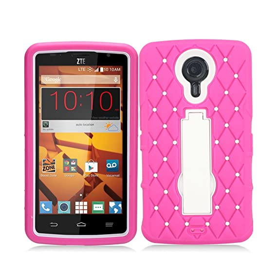 online retailer 5dc39 b523a Aimo Wireless For ZTE N817 Layer Case, 3 in 1 w/Stand Hot Pink Skin+White  PC w/Spot Diamond