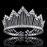 FUMUD Luxury Sparkling CZ Flowers Crystal Bridal Crown Hair Accessories For Women Girls Wedding Tiaras Big Diadem Crown (0048)