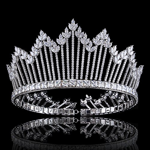 FUMUD Luxury Sparkling CZ Flowers Crystal Bridal Crown Hair Accessories For Women Girls Wedding Tiaras Big Diadem Crown (0048) by FUMUD