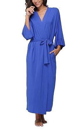 acecb115e5f FADSHOW Women s Soft Long Sleepwear Modal Cotton Wrap Robe Bathrobe  Nightgown Blue