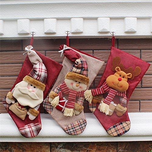 the love 3 Pcs Set Classic Christmas Stockings Santa Claus Snowmen Elk Christmas decorations (C)