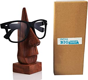 IndiaBigShop Wooden Hand Carved Classic Sheesham Wood 6 Inch Nose-Shaped Eyeglass Spectacle Holder Perfect for Home and Office Decor
