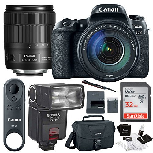 Canon 77D SLR w/ 18-135mm Lens, BR-E1 Remote Control, TTL Swivel Flash&32GB Kit