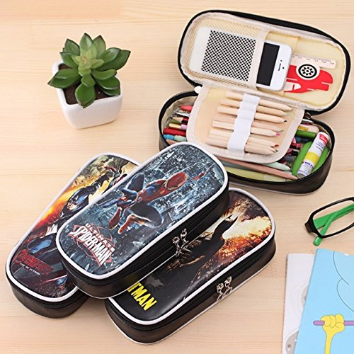 Katoot@ Hero series zipper pencil case for kids Superman batman PU leather pencil bag big capacity stationery pouch office school supply