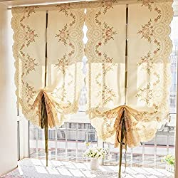 Abreeze Flowers Embroidered Roman Blinds Lifting Tulle Balcony Window Door Voile Curtain Green 24x55inch