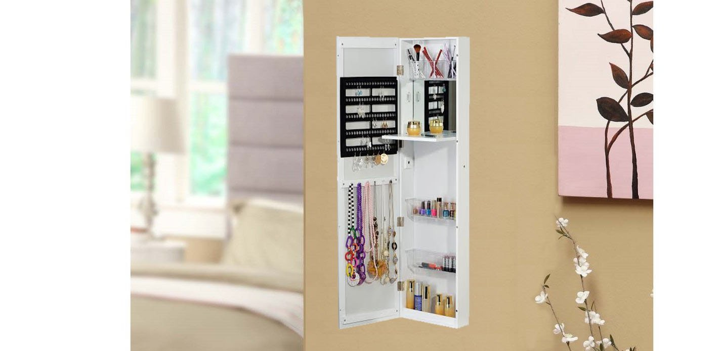 Amazon.com: BTExpert Jewelry Armoire Cosmetic Makeup Cabinet Organizer  Table Mirror Over The Door Wall Mount, White: Home U0026 Kitchen