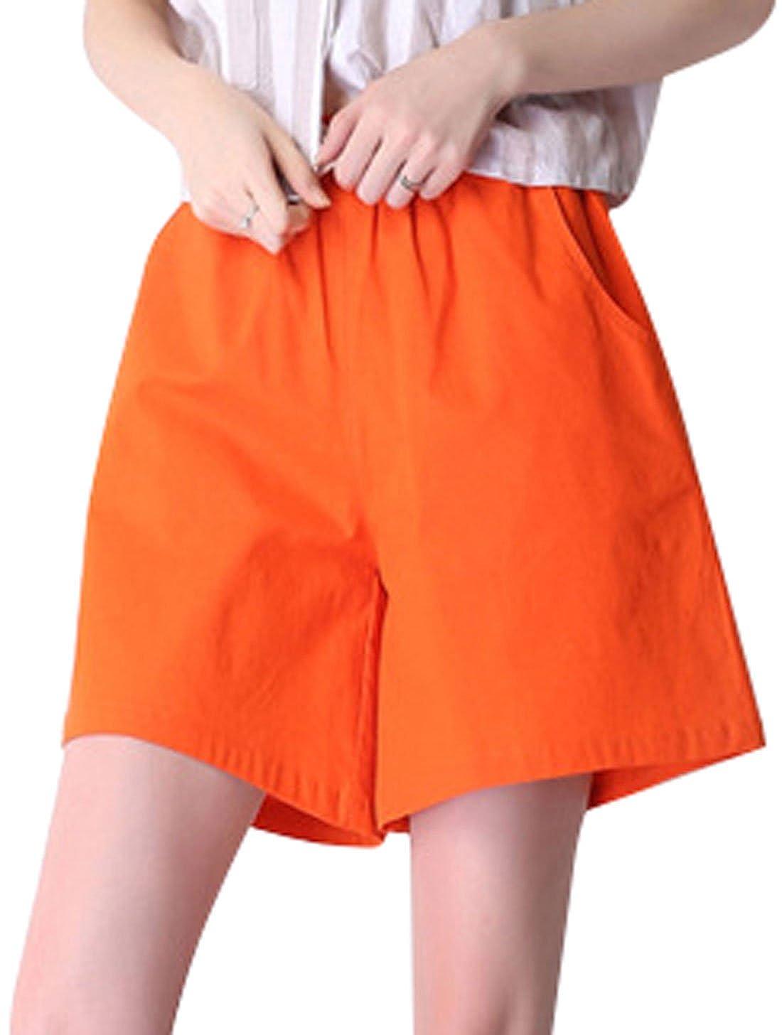 M orange Qiuse Women's Casual Wide Legs Elastic Waist with Drawstring Bermuda Shorts