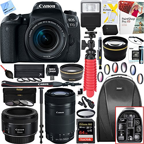 Canon Right Angle Viewfinder (Canon EOS 77D 24.2 MP DSLR Camera Wi-Fi & Bluetooth 1892C016 + EF-S 18-55mm IS STM + 64GB (EF-S 55-250mm Telephoto + EF 50mm STM) Triple Lens Exclusive Bundle)