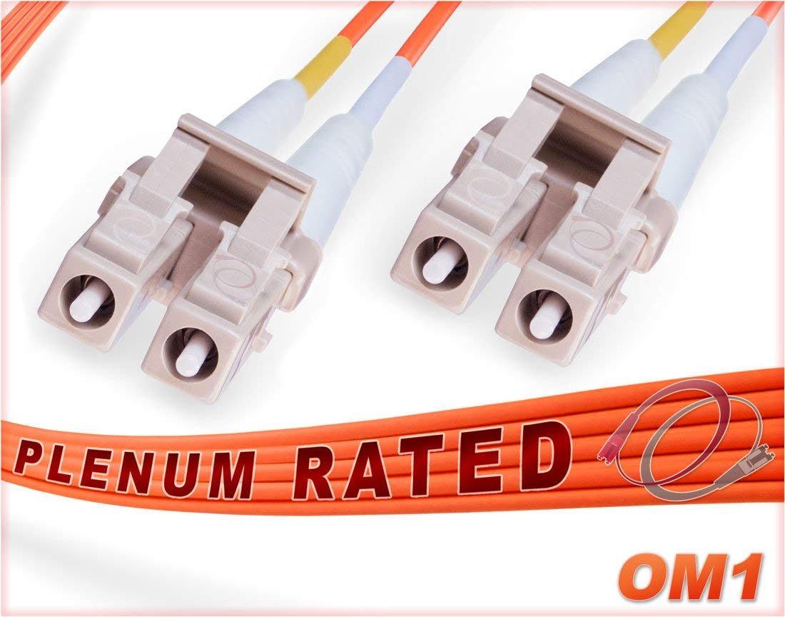 100M OM1 LC LC Plenum Fiber Patch Cable | Duplex 62.5/125 LC to LC Multimode Jumper 100 Meter (328ft) | Length Options: 0.5M-300M | FiberCablesDirect - Made In USA | Alt: ofnp lc-lc mm dx lc/lc mmf