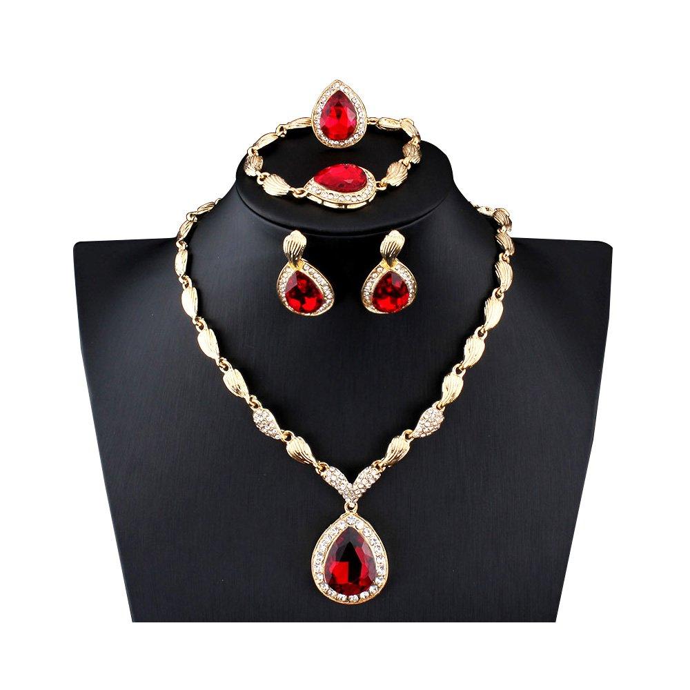MINIZY Women's Rhinestone Teardrop Pendant Gold Necklace Earrings Bracelet Ring Set (Red)