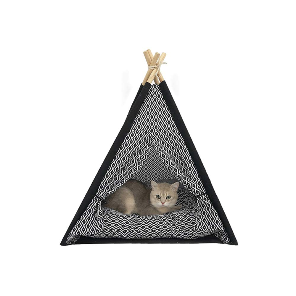 HTMAL Non-fading Computer Printing Cat Litter Non-slip Cat Litter Net Red Ins Cat Litter Cat Tent Nest Cat Climbing Frame Small Solid Wood Summer Washable Closed Pet Nest
