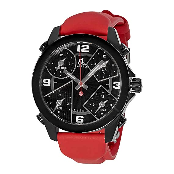 d5191d38724a09 Image Unavailable. Image not available for. Color  Jacob and Co. Five Time  Zone Black Dial Men s Watch ...