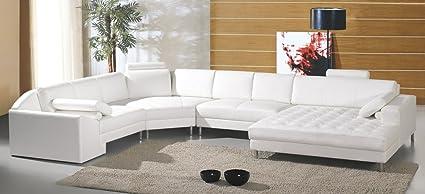 Amazon.com: Modern White Leather Sectional Sofa: Kitchen ...