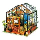 ROBOTIME DIY Wooden Miniature Dollhouse Furniture Kit Greenhouse with LED light-Best Birthday Christmas Gifts for Women,Men,Boyfriend,Girlfriend