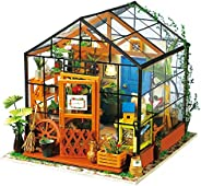 ROBOTIME DIY Dollhouse Wooden Miniature Furniture Kit Mini Green House with LED Best Birthday Gifts for Women