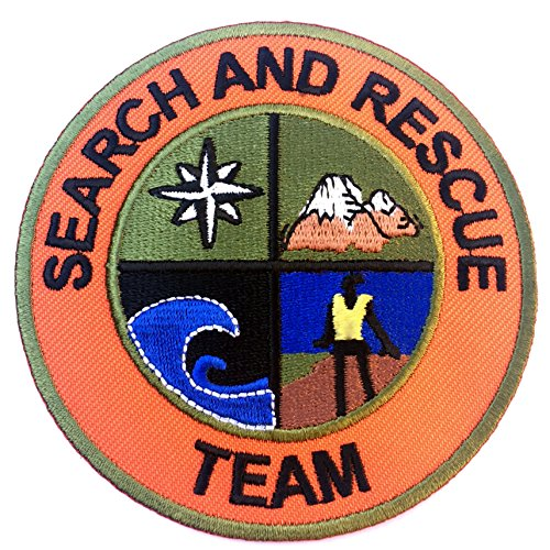 Search and Rescue Team Patch Embroidered Iron on Badge / 3 Inch DIY Applique Mountain Support Coast Guard Air Helicoptor Fancy Dress Costume Shirt Bag Jacket -