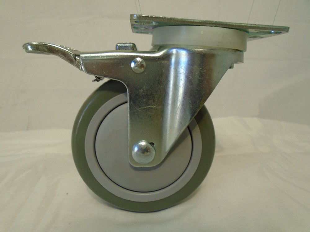 4'' X 1-1/4'' Swivel Caster Gray Polyurethane Wheel with Brake 400 Lbs Each (2) and Rigid(2) Tool Box by Creative Industrial Sales (Image #3)
